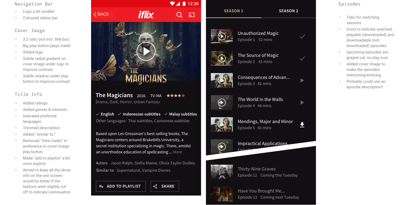 A visual concept for 'The Magicians' title screen with a larger play button, a more minimal navigation bar and logo, key decision-making information visible first (e.g. genre, languages, rating), and a truncated description. A further scroll reveals individual episodes and an option to download.