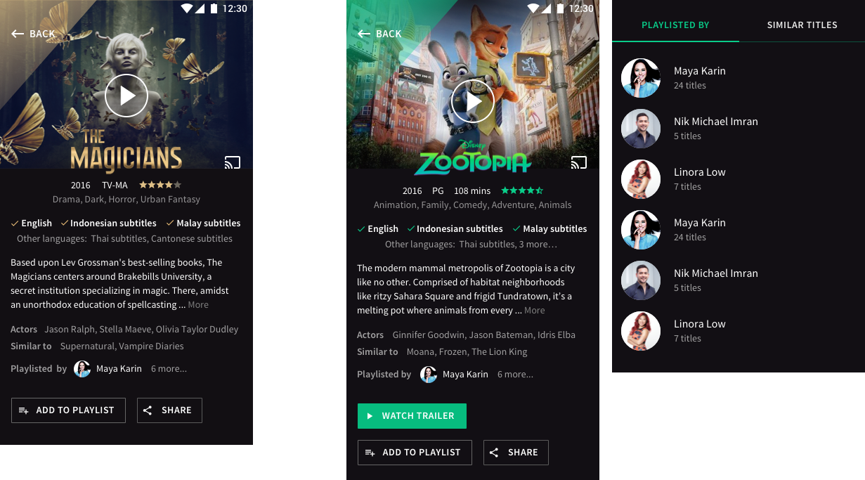 Screenshots of concept that is similar in content and hierarchy, but with a splash of diagonal colour overlay to reflect iflix's brand. This is colour-matched to the title image, shown by using the example of 'The Magicians' and then adding 'Zootopia' to show how it would change. I also added a 'social proof' idea in the form of celebrities shortlisting/recommending titles.