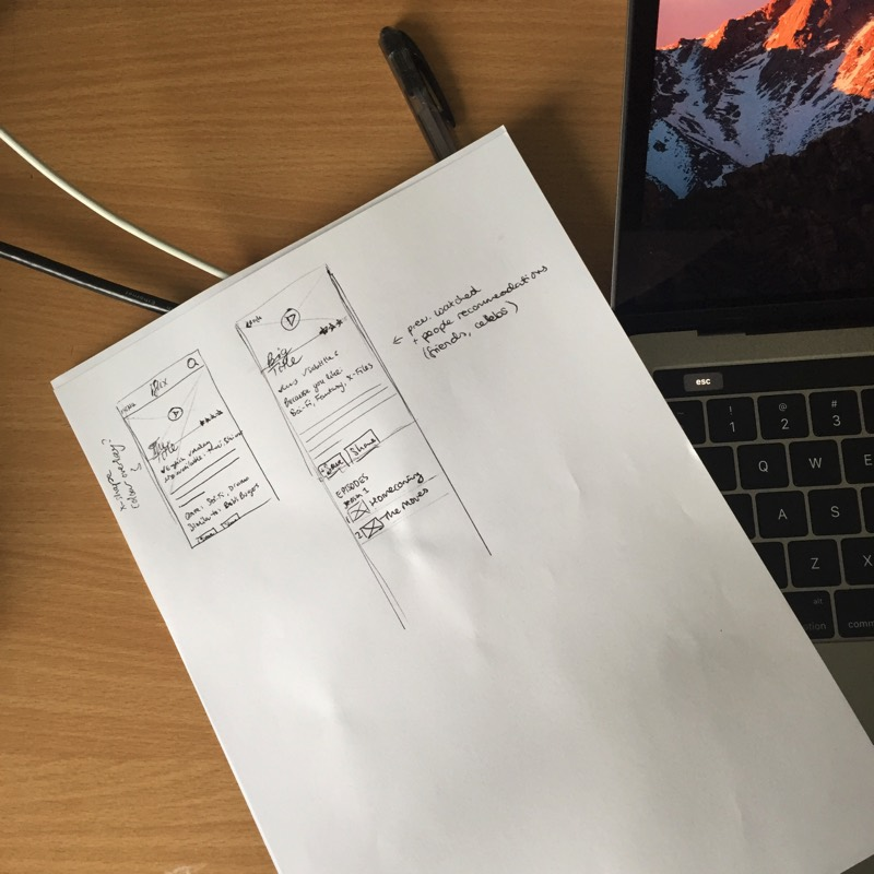 Photo of my notepad on my desk, with a UI screen sketched out. The play button is more prominent, and there's more information about the title in view.